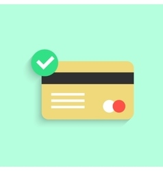 credit card with yes check mark and shadow vector image vector image