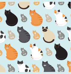cute pattern with cats vector image vector image
