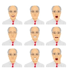 different expressions of senior businessman vector image vector image