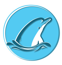 Dolphin in sea symbol isolated on vector