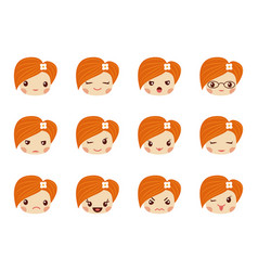 Emoji set of girls avatar collection vector