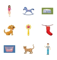 Family icons set cartoon style vector