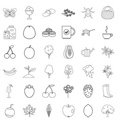 fruit icons set outline style vector image