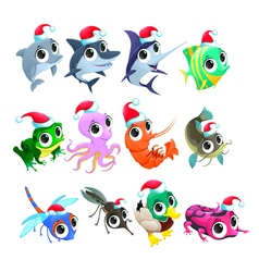 Funny christmas animals vector
