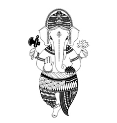 Ganesha in black and white vector