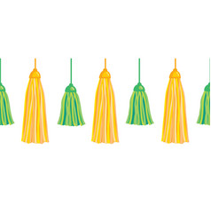 Green yellow hanging decorative tassels set vector