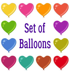 Holiday heart shaped balloons set vector