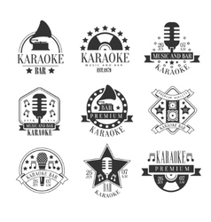 Karaoke Club Black And White Emblems vector image vector image
