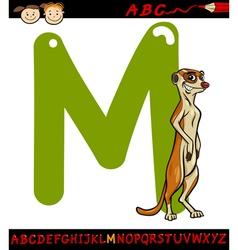 letter m for meerkat cartoon vector image vector image