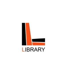 Library education logo letter l consists of books vector