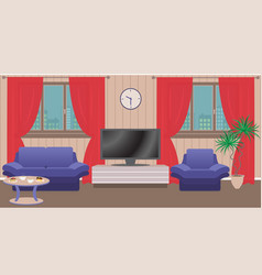 Living room interior with furniture tv window vector