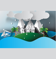 paper art of island sea view rainy season vector image vector image