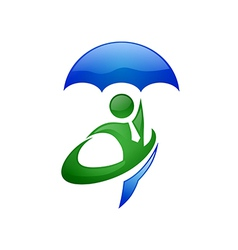 people secure insurance business logo vector image vector image