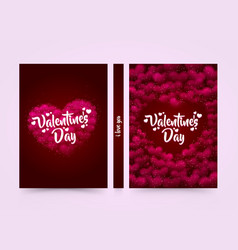 Pink hearted background with a valentine day title vector