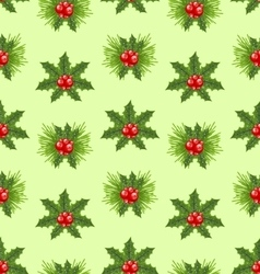 Seamless Pattern Christmas Holly Berry Background vector image vector image