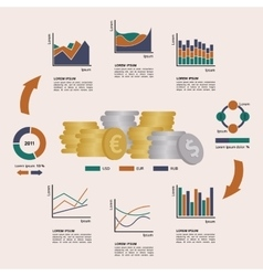 Set of Financial Infographics Elements Arranged in vector image vector image