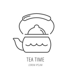 Simple logo template kettle vector