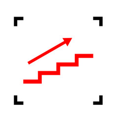 Stair with arrow red icon inside black vector