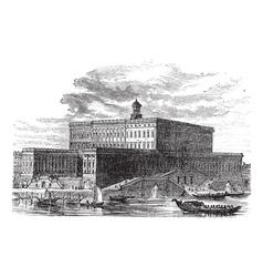 Stockholm palace vintage engraving vector