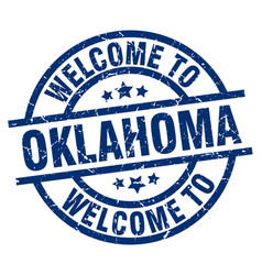 Welcome to oklahoma blue stamp vector