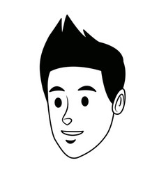 Young man people face character avatar vector