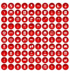 100 cleaning icons set red vector