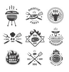 Barbecue and grill labels set bbq emblems and vector