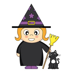 Girl dressed as witch vector
