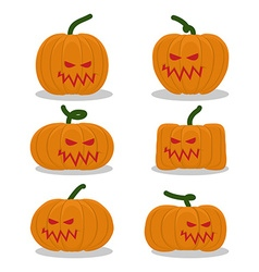 Scary pumpkins for halloween set terrible holiday vector
