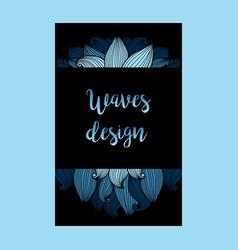 Blue waves on black background flyer vector