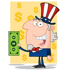 Happy uncle sam with holding a dollar bill vector