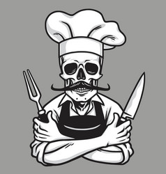 Dead skull chef grinning with fork knive and hat vector