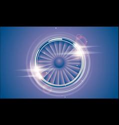 Jet engine turbine chrome ring in retro violet vector