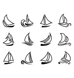 Black sailboat outline icons vector