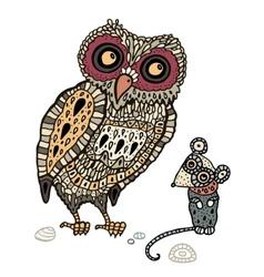 Owl Hand Drawn Decorative vector image