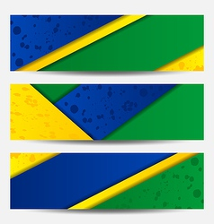 Set football flyers in brazil flag colors vector