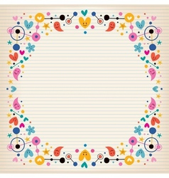 Hearts dots flowers and stars funky note paper vector