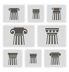 Monochrome icons with ancient columns vector