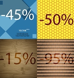 50 15 95 icon set of percent discount on abstract vector