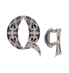 Low poly letter q in brown mosaic polygon vector