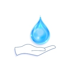 Save water sign icon hand holds blue drop symbol vector