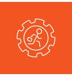 Man running inside the gear line icon vector