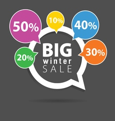 Winter sale with speech bubble five color percent vector