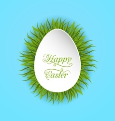 Happy easter paper card in form egg with green vector