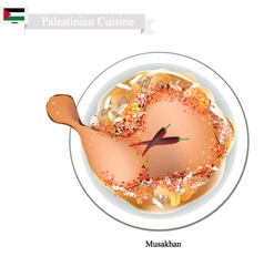 Musakhan or palestinian roasted chicken on taboon vector