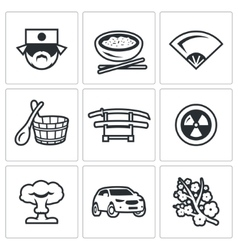 Set of japan icons japanese food fan vector
