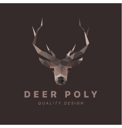 Horned animal deer head low poly vector