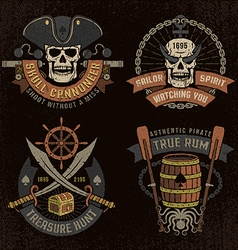Pirate emblem with skulls vector image