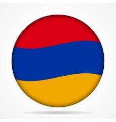 Button with waving flag of armenia vector