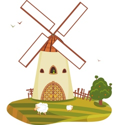 Windmill landscape vector